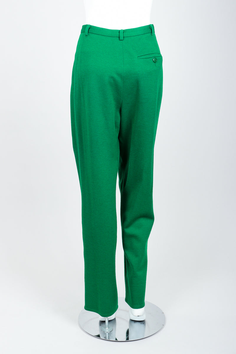Vintage Sonia Rykiel Green Collegiate Knit Pant Set on Mannequin Back at Recess