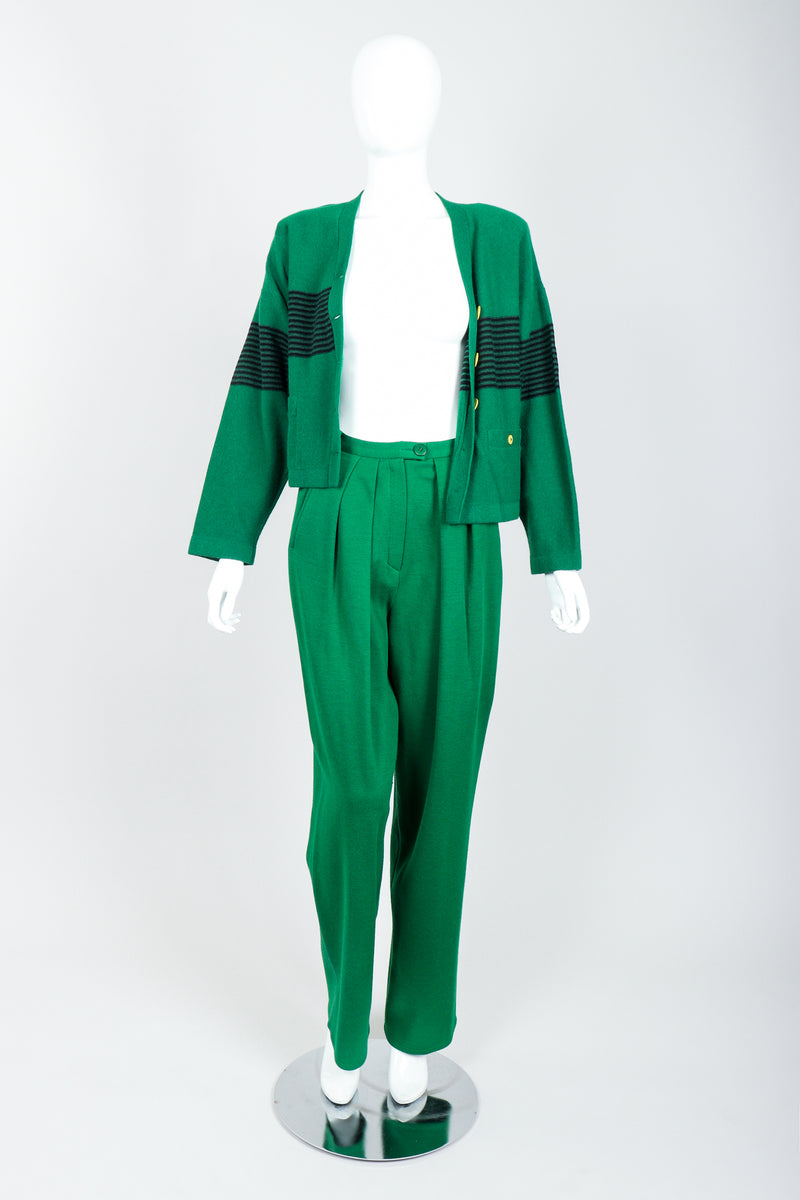 Vintage Sonia Rykiel Green Collegiate Cardigan & Pant Set on Mannequin Open at Recess