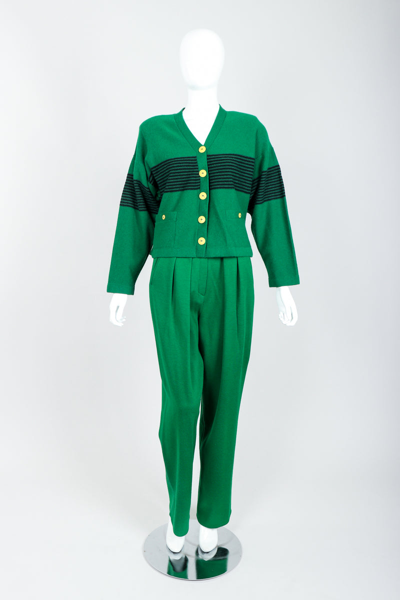 Vintage Sonia Rykiel Green Collegiate Cardigan & Pant Set on Mannequin Front at Recess