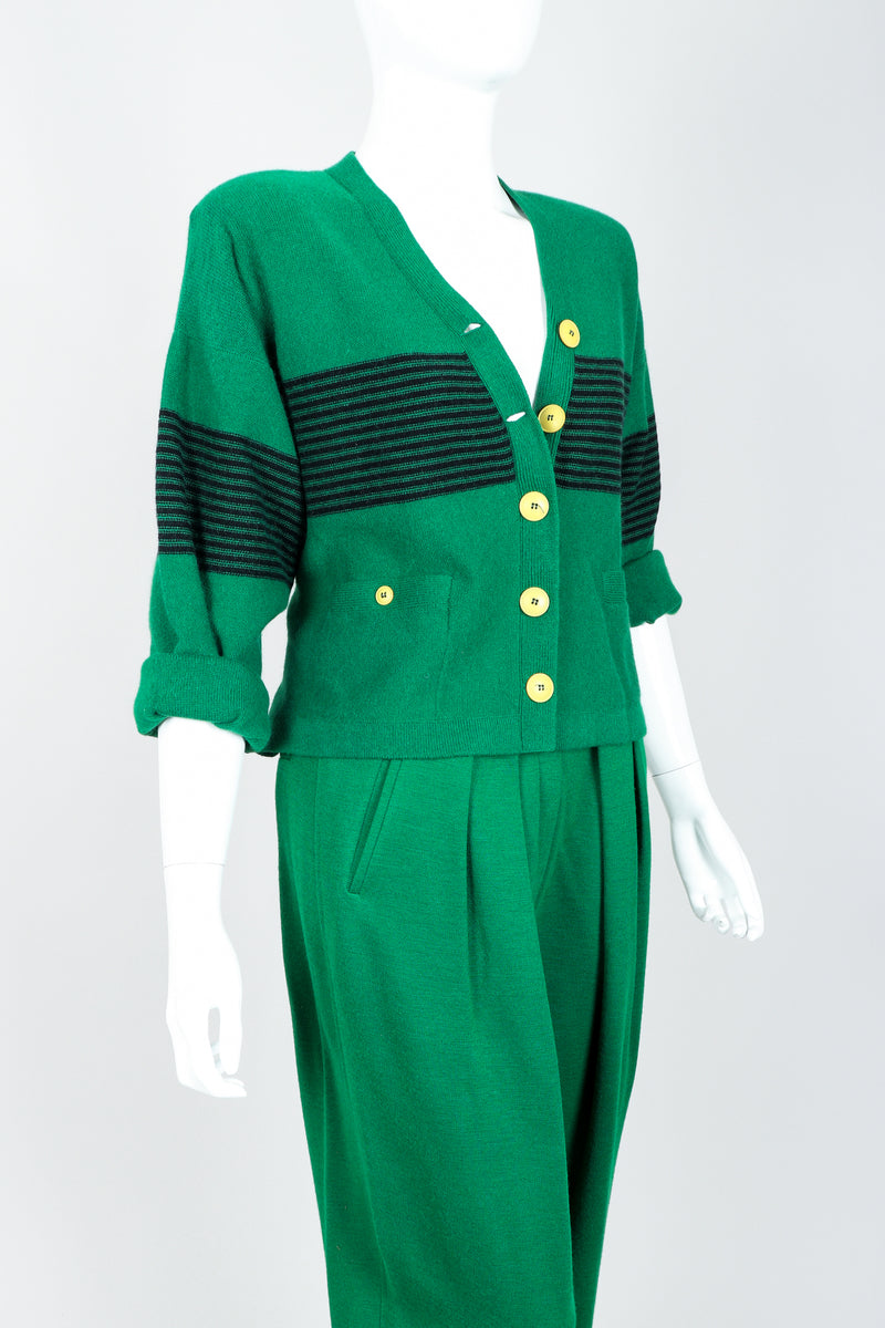 Vintage Sonia Rykiel Green Collegiate Cardigan & Pant Set on Mannequin Cropped at Recess