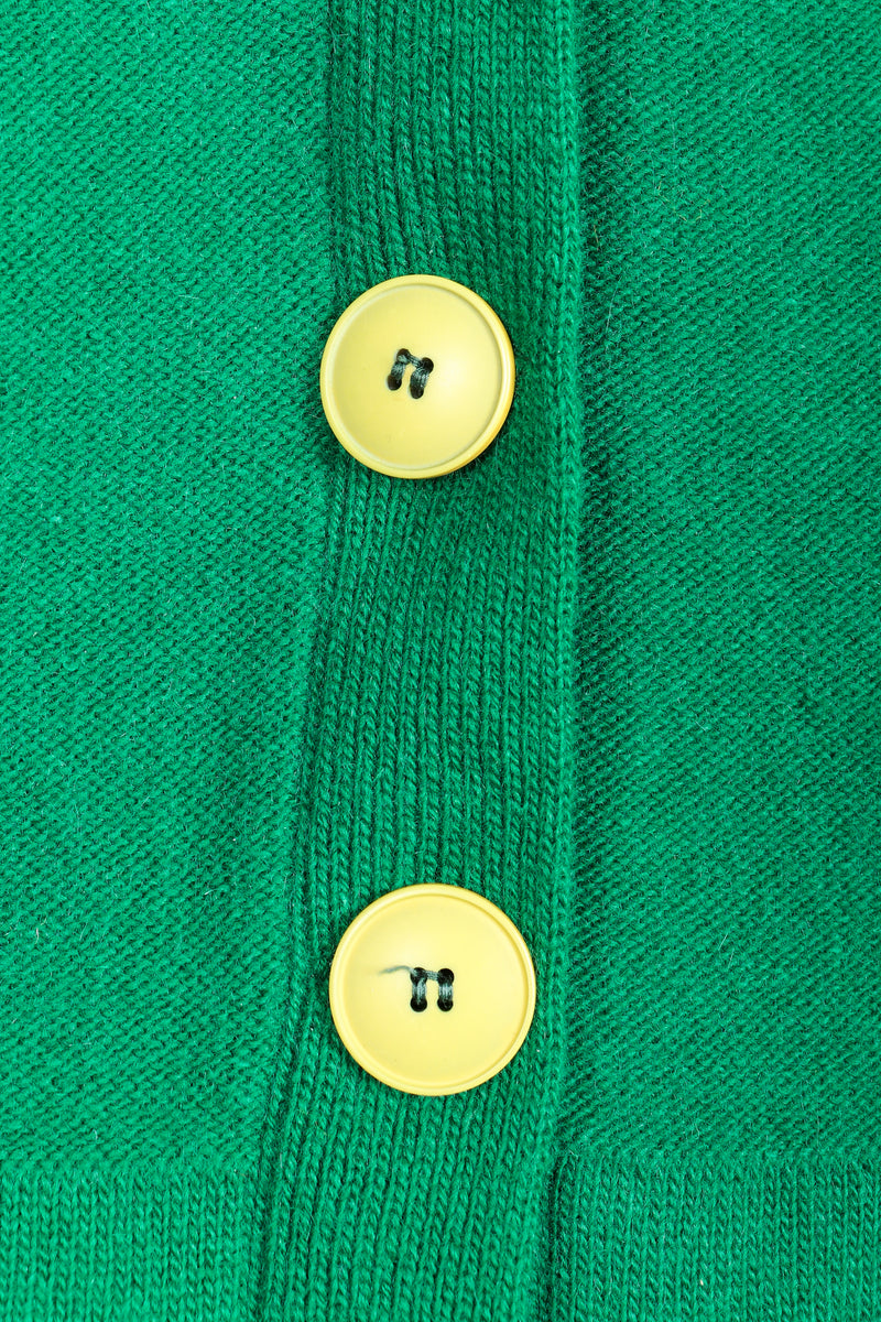 Vintage Sonia Rykiel Green Collegiate Knit Cardigan Button Detail at Recess
