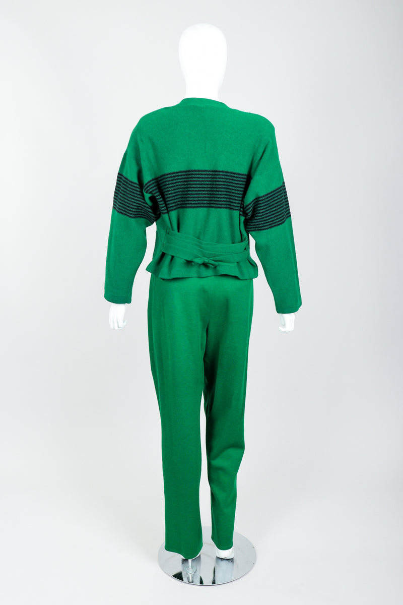 Vintage Sonia Rykiel Green Collegiate Cardigan & Pant Set on Mannequin Back at Recess