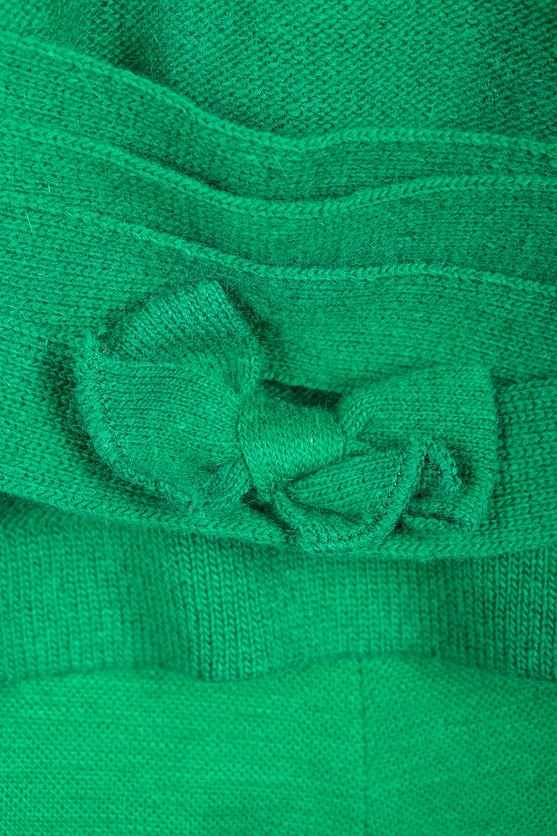 Vintage Sonia Rykiel Green Collegiate Knit Cardigan Back Bow Detail at Recess