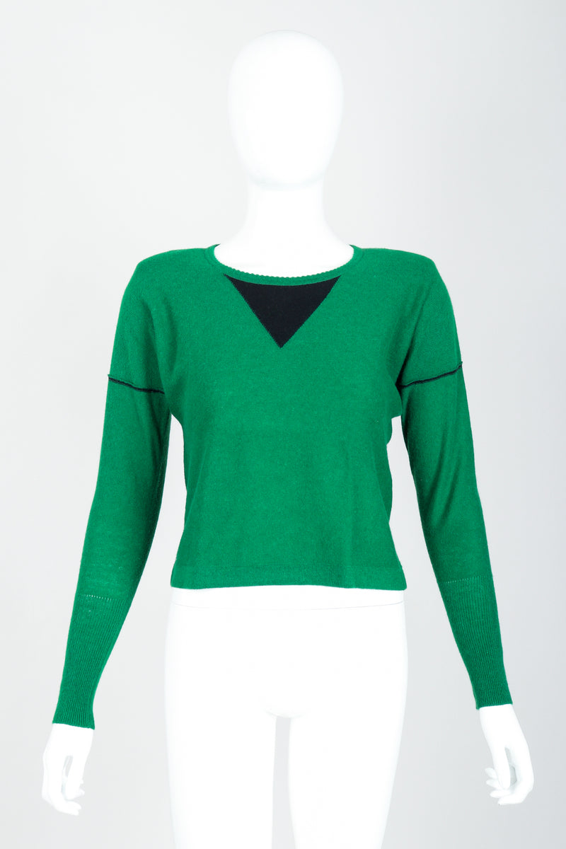 Vintage Sonia Rykiel Green Knit Triangle Yoke Sweater on Mannequin Front at Recess