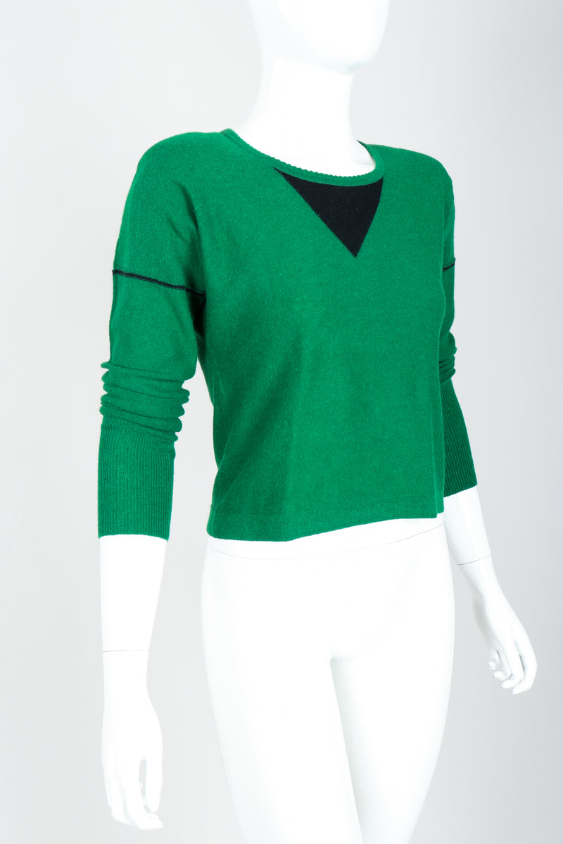 Vintage Sonia Rykiel Green Knit Triangle Yoke Sweater on Mannequin angled at Recess