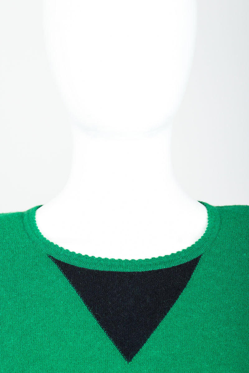 Vintage Sonia Rykiel Green Knit Triangle Yoke Sweater on Mannequin Neckline at Recess