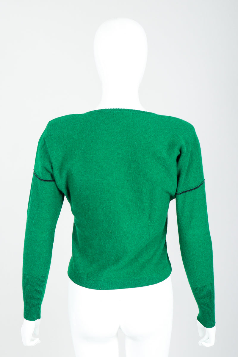 Vintage Sonia Rykiel Green Knit Triangle Yoke Sweater on Mannequin Back at Recess