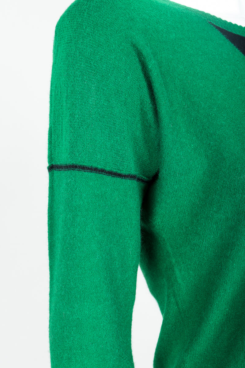 Vintage Sonia Rykiel Green Knit Triangle Yoke Sweater on Mannequin Dropped Shoulder at Recess