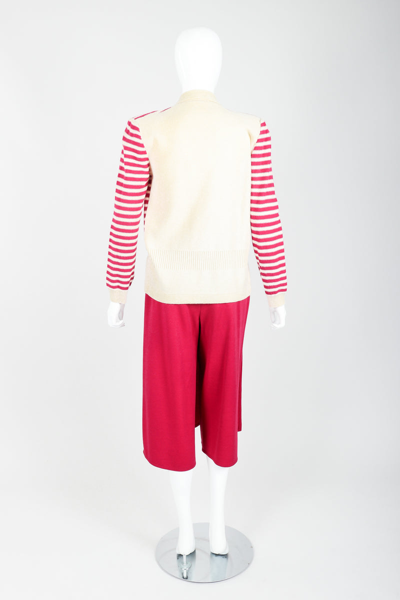 Vintage Sonia Rykiel Magenta Knit Sweater & Panel Short Skort Set on Mannequin back at Recess