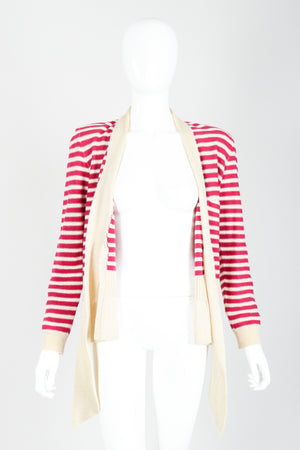 Vintage Sonia Rykiel Magenta Knit Sweater Set on Mannequin front open at Recess
