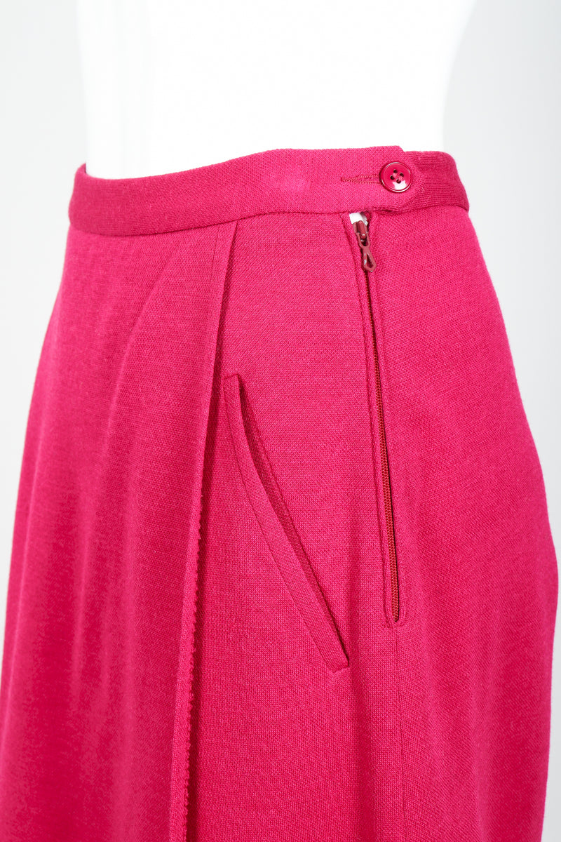 Vintage Sonia Rykiel Magenta Knit Panel Skort Set on Mannequin waistband detail at Recess