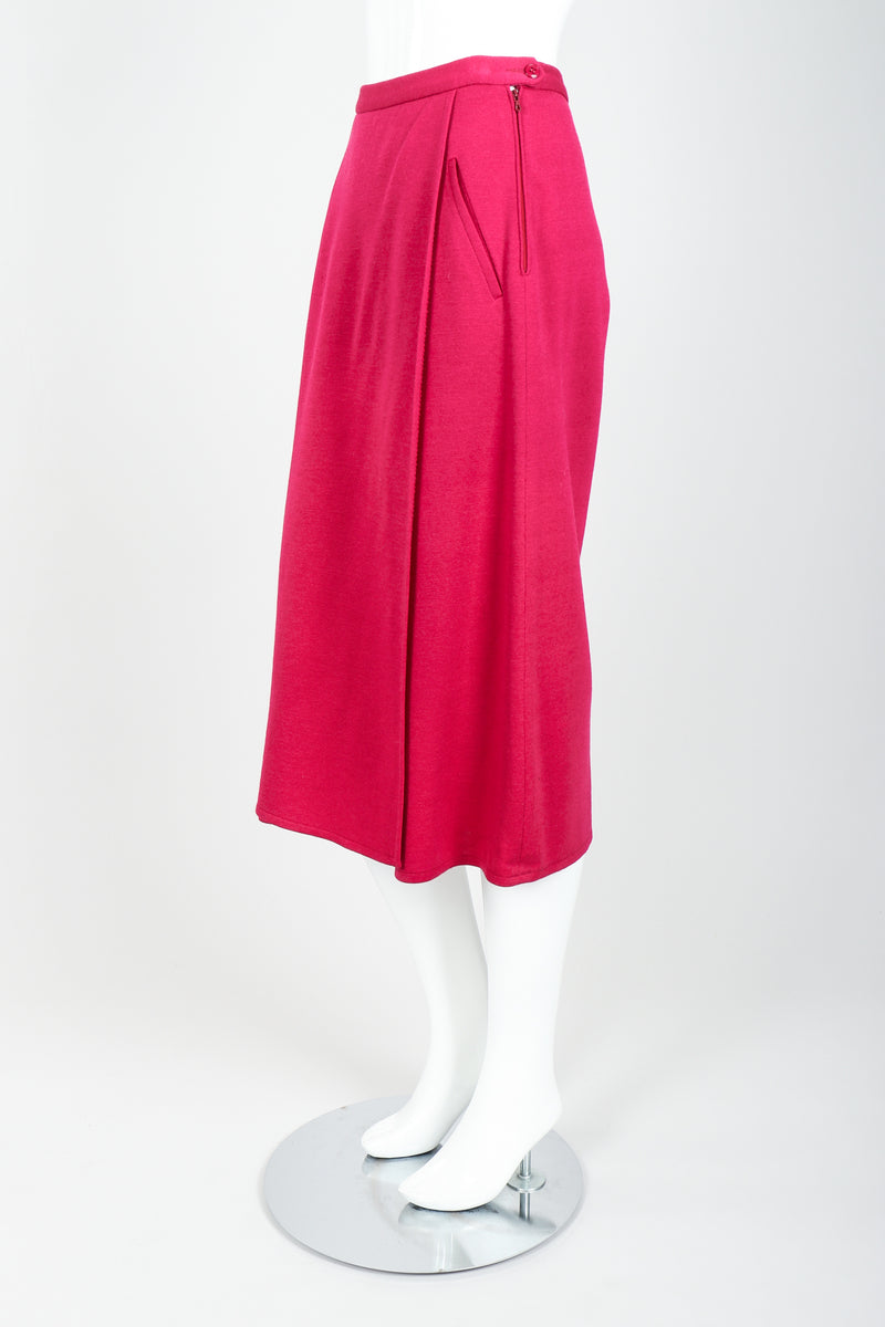Vintage Sonia Rykiel Magenta Knit Panel Skort Set on Mannequin side at Recess