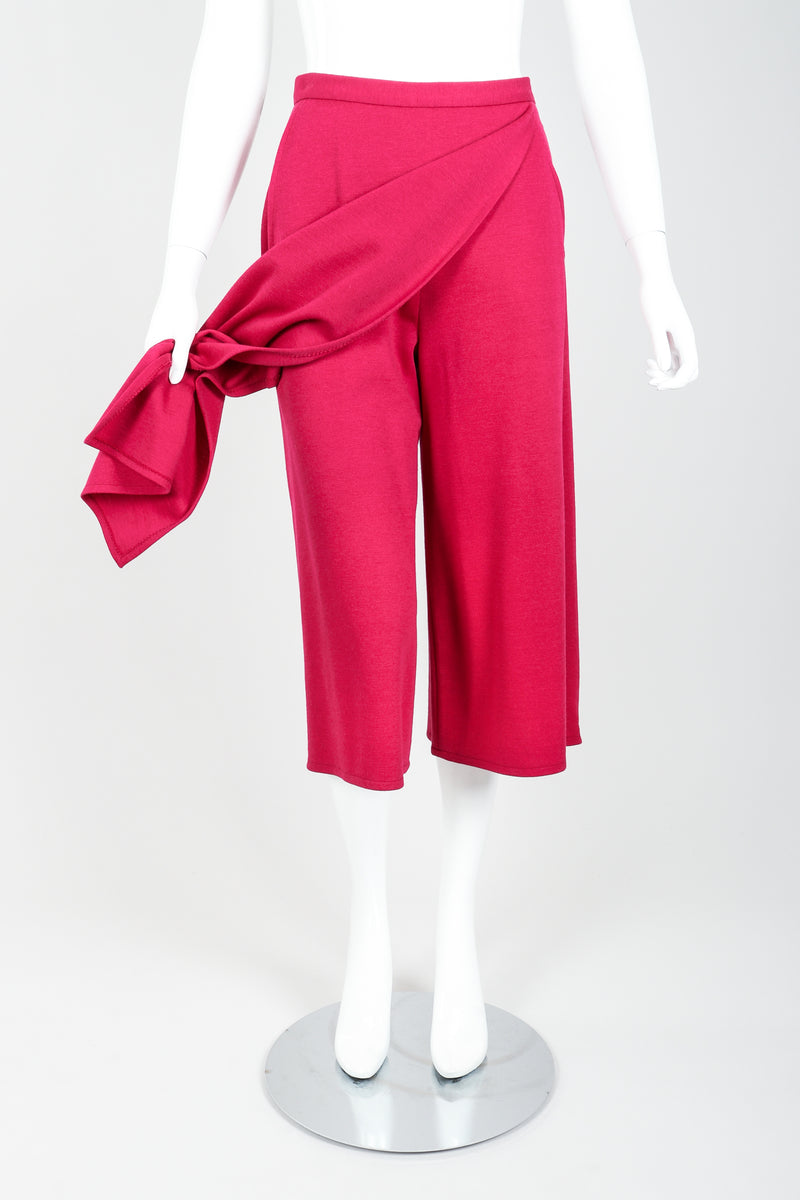 Vintage Sonia Rykiel Magenta Knit Panel Skort Set on Mannequin front at Recess