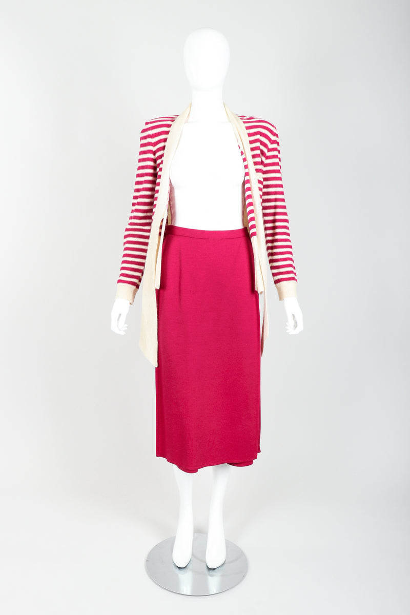 Vintage Sonia Rykiel Magenta Knit Sweater & Panel Short Skort Set on Mannequin open at Recess