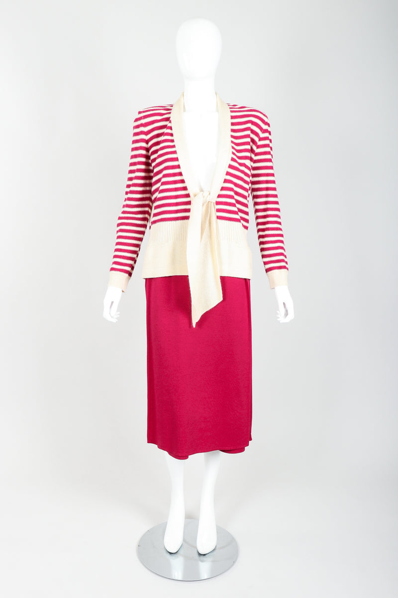 Vintage Sonia Rykiel Magenta Knit Sweater & Panel Short Skort Set on Mannequin untied at Recess