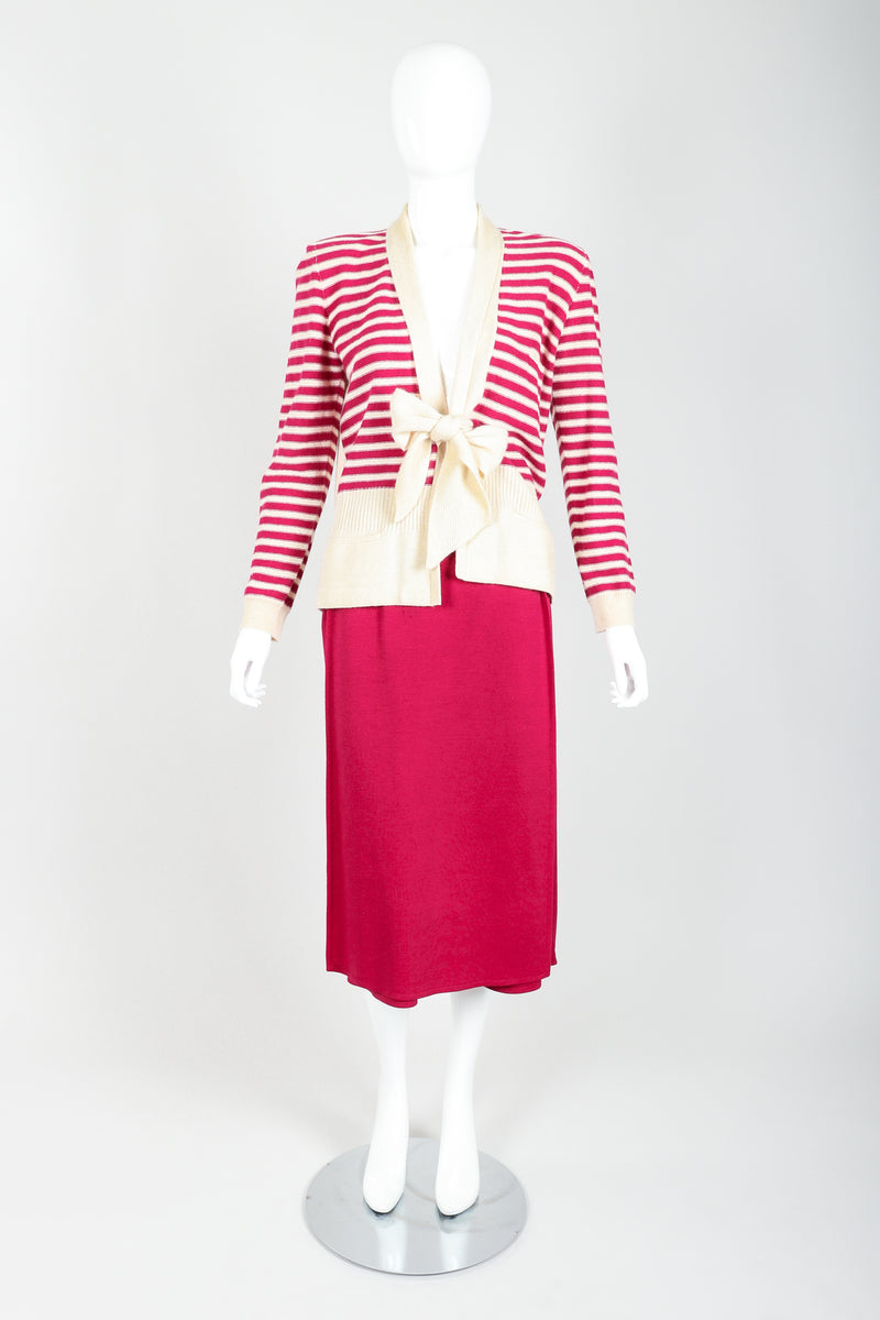 Vintage Sonia Rykiel Magenta Knit Sweater & Panel Short Skort Set on Mannequin front at Recess