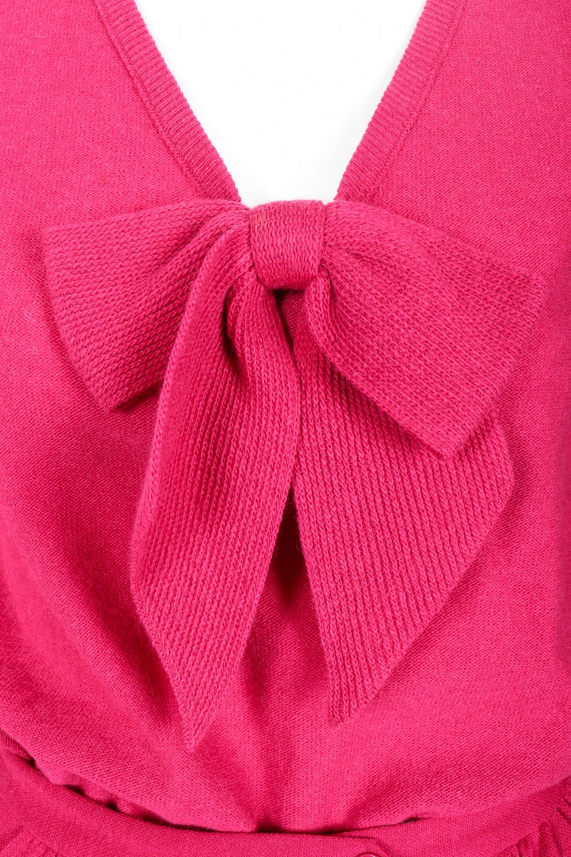 Vintage Sonia Rykiel Magenta Knit Bow Sweater Set on Mannequin bow detail at Recess