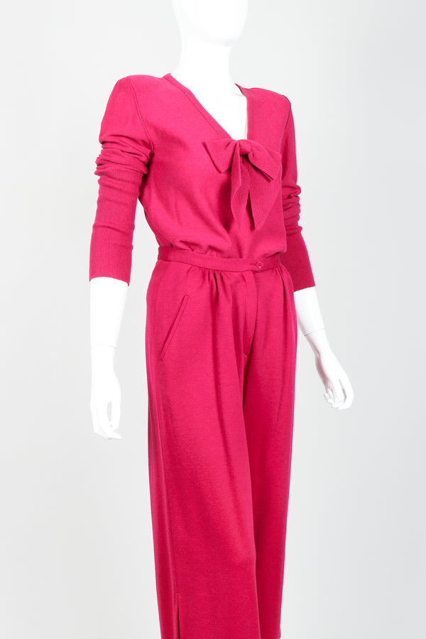 Vintage Sonia Rykiel Magenta Knit Bow Sweater & Cropped Trouser Set on Mannequin angled at Recess
