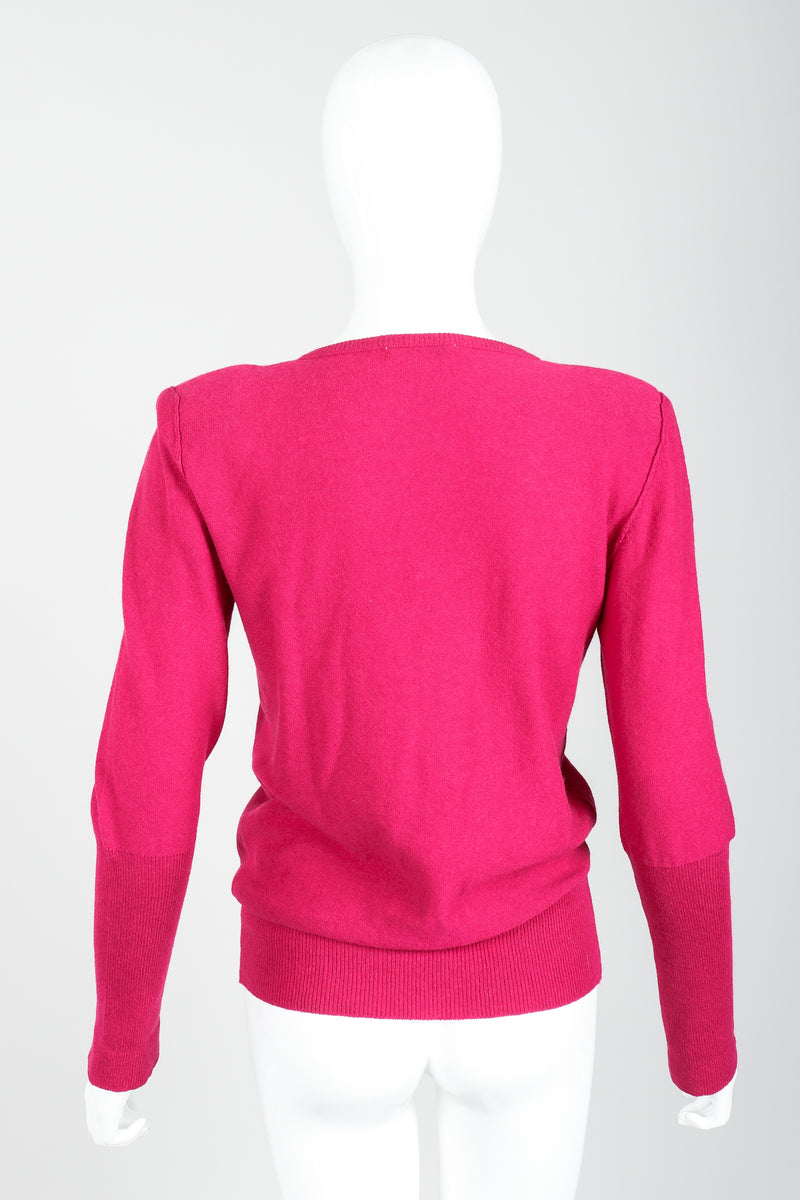 Vintage Sonia Rykiel Magenta Knit Bow Sweater Set on Mannequin back at Recess