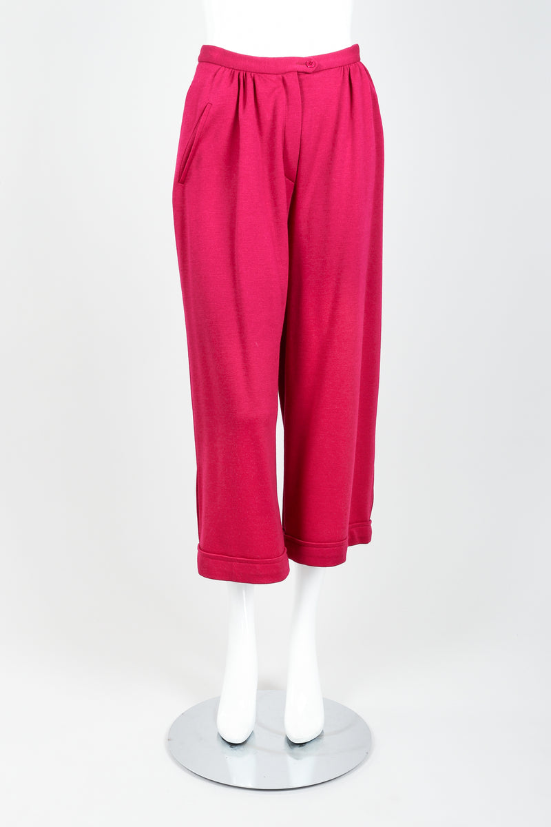 Vintage Sonia Rykiel Magenta Knit Cropped Trouser Set on Mannequin front at Recess