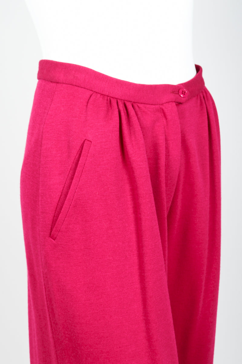 Vintage Sonia Rykiel Magenta Knit Cropped Trouser Set on Mannequin waistband detail at Recess