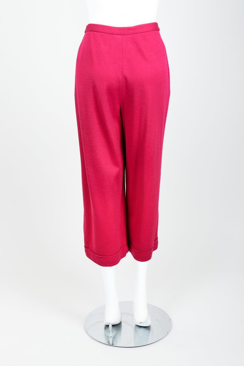 Vintage Sonia Rykiel Magenta Knit Cropped Trouser Set on Mannequin back at Recess
