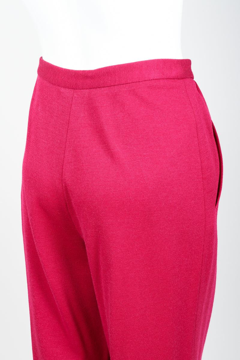 Vintage Sonia Rykiel Magenta Knit Cropped Trouser Set on Mannequin rear at Recess