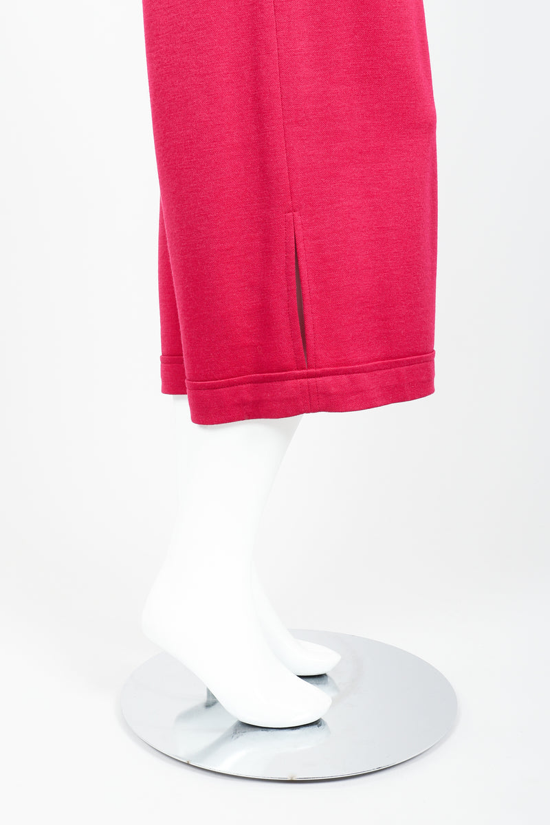 Vintage Sonia Rykiel Magenta Knit Cropped Trouser Set on Mannequin leg opening at Recess