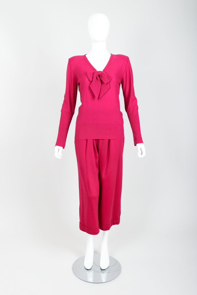 Vintage Sonia Rykiel Magenta Knit Bow Sweater & Cropped Trouser Set on Mannequin front at Recess