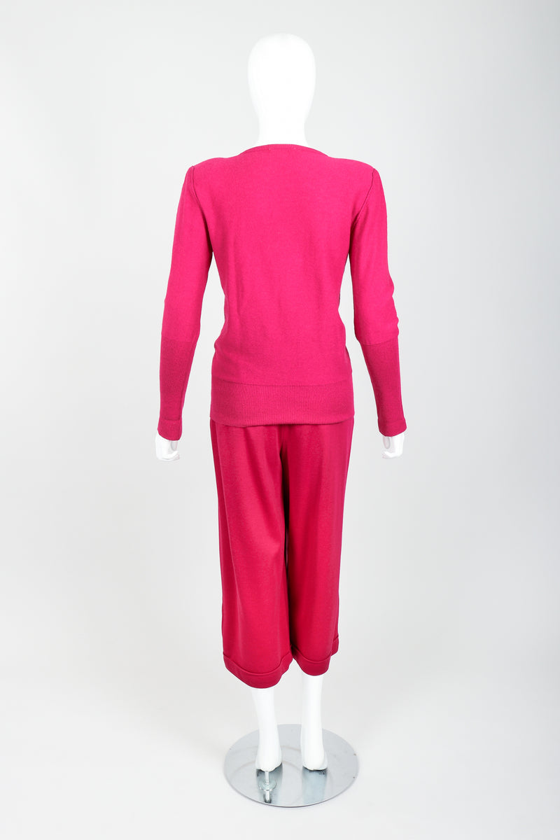 Vintage Sonia Rykiel Magenta Knit Bow Sweater & Cropped Trouser Set on Mannequin back at Recess