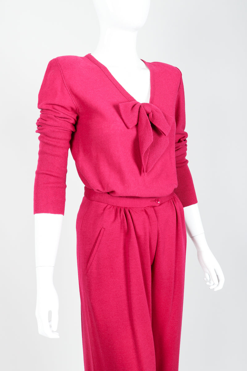 Vintage Sonia Rykiel Magenta Knit Bow Sweater & Cropped Trouser Set on Mannequin crop at Recess