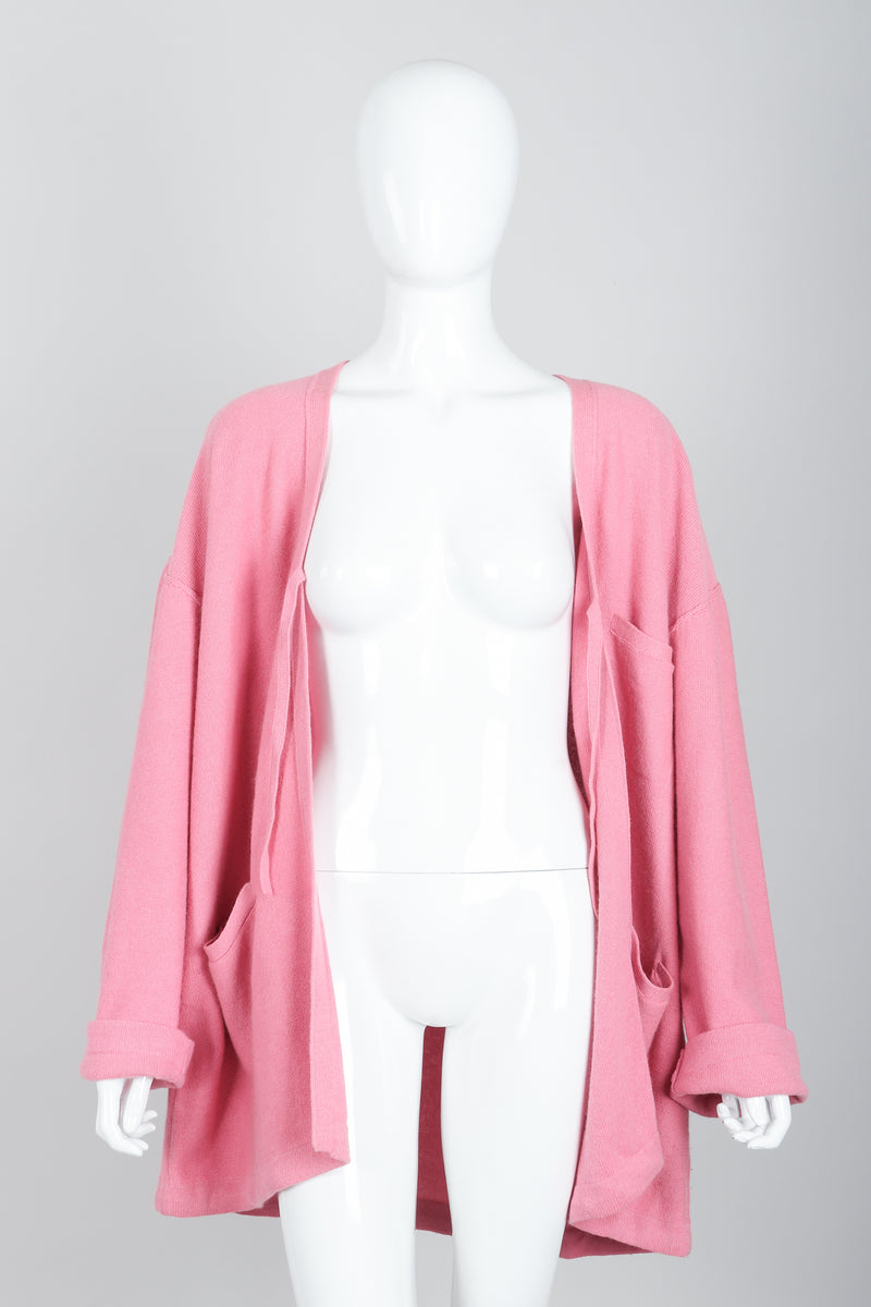 Vintage Sonia Rykiel Pink Knit Cocoon Cardigan on Mannequin open at Recess