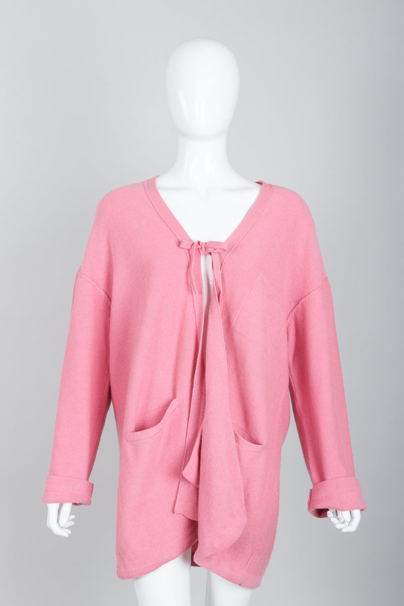 Vintage Sonia Rykiel Pink Knit Cocoon Cardigan on Mannequin Front at Recess