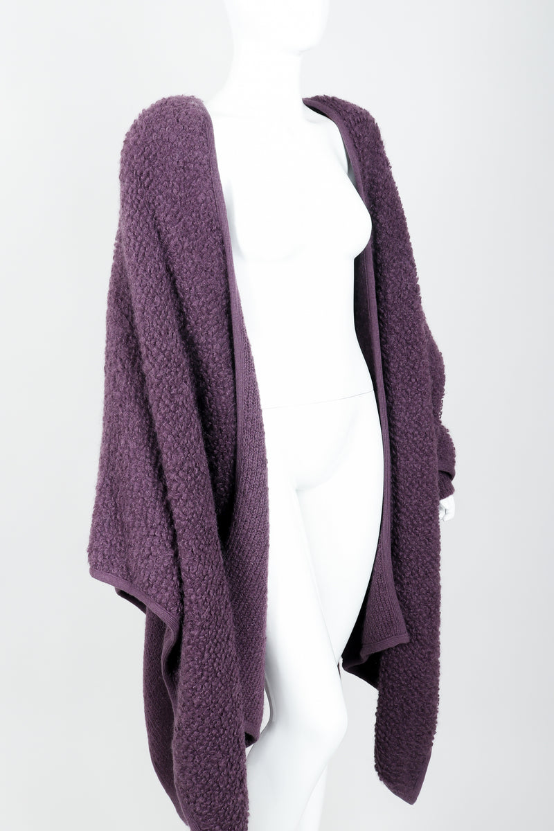 Vintage Sonia Rykiel Curly Wool Cape Coat Poncho on Mannequin angle crop at Recess