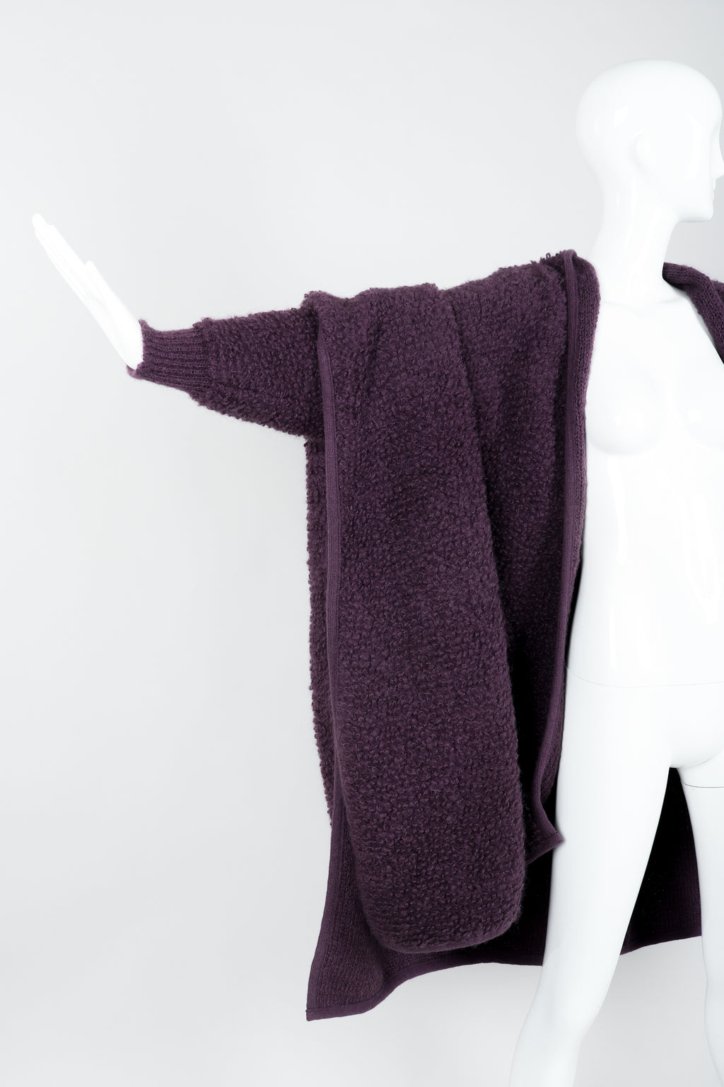 Vintage Sonia Rykiel Curly Wool Cape Coat Poncho on Mannequin arm at Recess