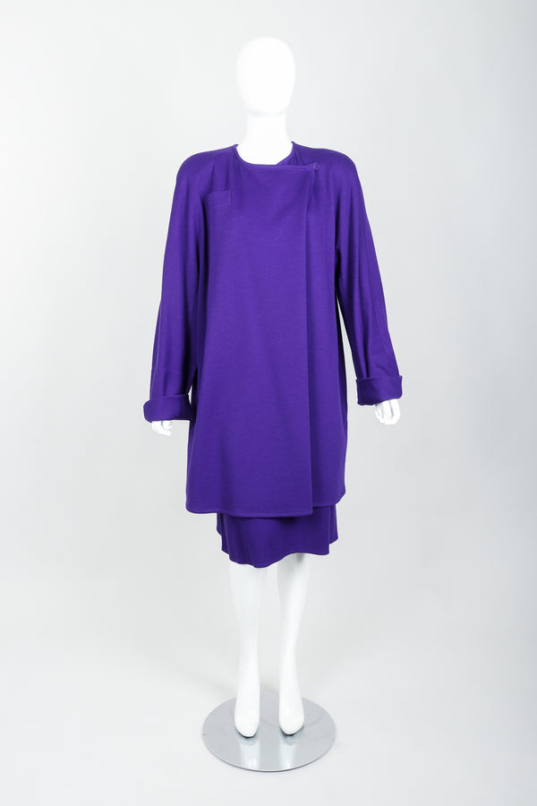 Vintage Sonia Rykiel Purple Knit Cocoon Coat & Skirt Set on mannequin front at Recess