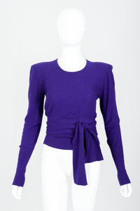 Vintage Sonia Rykiel Purple Waist Tie Sweater on mannequin front at Recess