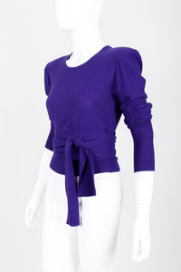 Vintage Sonia Rykiel Purple Waist Tie Sweater on mannequin angled waist tie at Recess