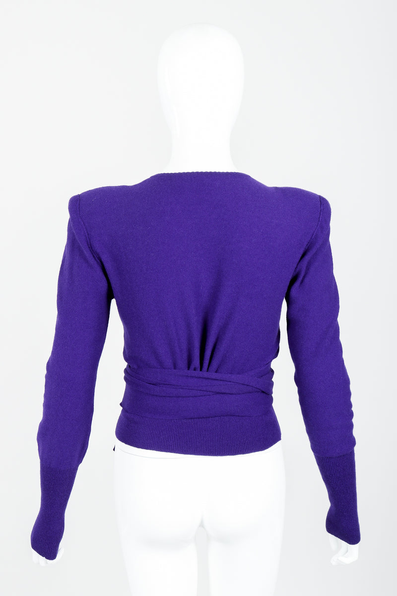 Vintage Sonia Rykiel Purple Waist Tie Sweater on mannequin back at Recess