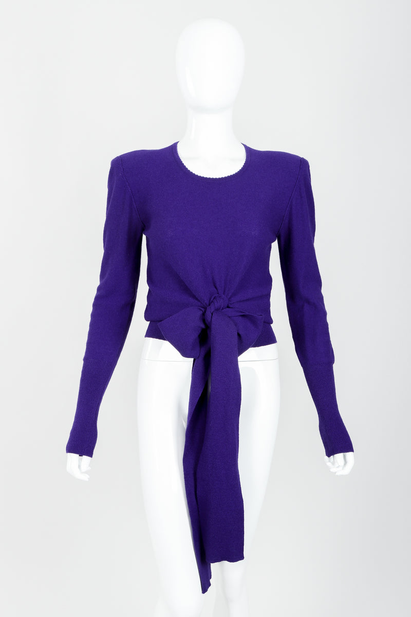 Vintage Sonia Rykiel Purple Waist Tie Sweater on mannequin front bow at Recess