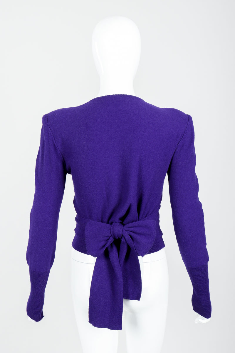 Vintage Sonia Rykiel Purple Waist Tie Sweater on mannequin back bow at Recess
