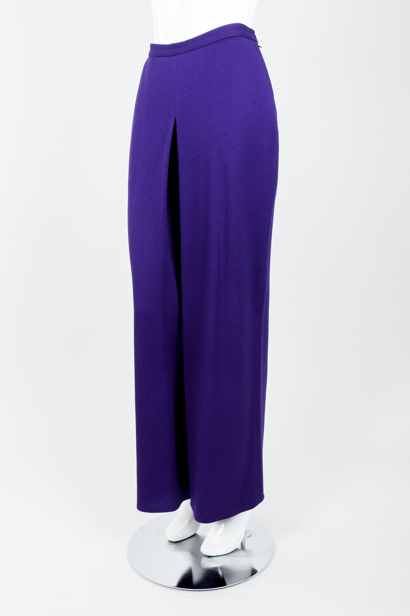 Vintage Sonia Rykiel Purple Knit Relaxed Straight Inverted Pleat Pant on mannequin side at Recess