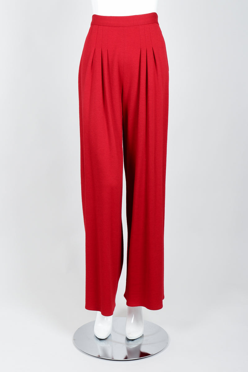 Vintage Sonia Rykiel Red Knit Pant Set on mannequin front at Recess