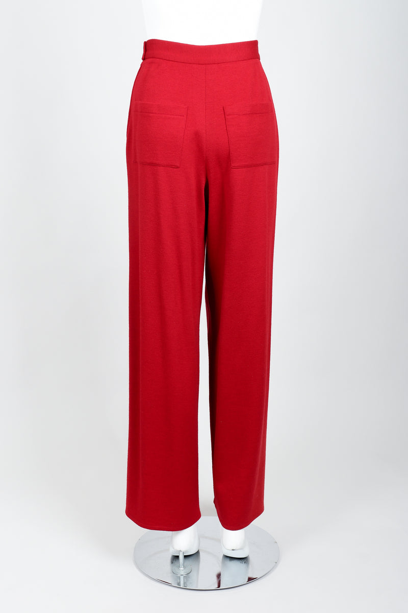 Vintage Sonia Rykiel Red Knit Pant Set on mannequin back at Recess