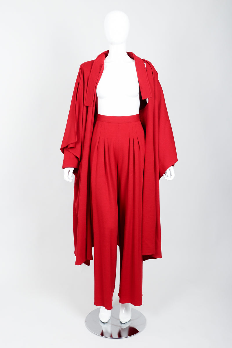 Vintage Sonia Rykiel Red Knit Cape Coat & Pant Set on mannequin open at Recess