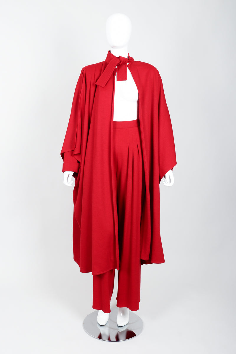 Vintage Sonia Rykiel Red Knit Cape Coat & Pant Set on mannequin tied at Recess