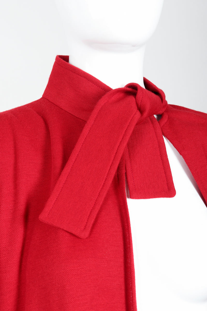 Vintage Sonia Rykiel Red Knit Cape Coat & Pant Set on mannequin neck tie at Recess