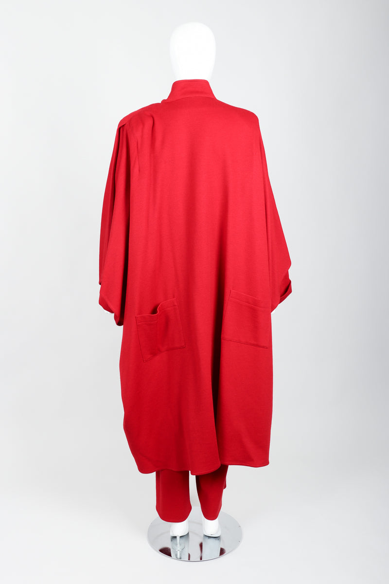 Vintage Sonia Rykiel Red Knit Cape Coat & Pant Set on mannequin back at Recess