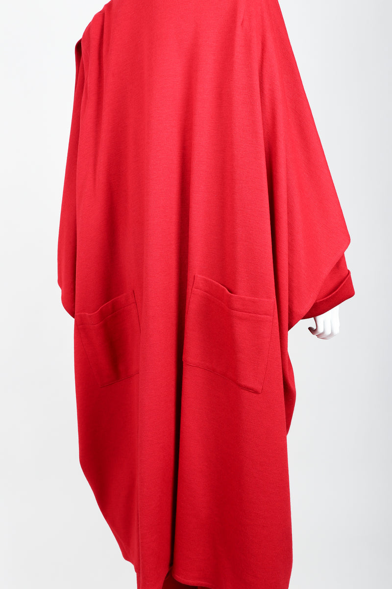 Vintage Sonia Rykiel Red Knit Cape Coat & Pant Set on mannequin back pockets at Recess