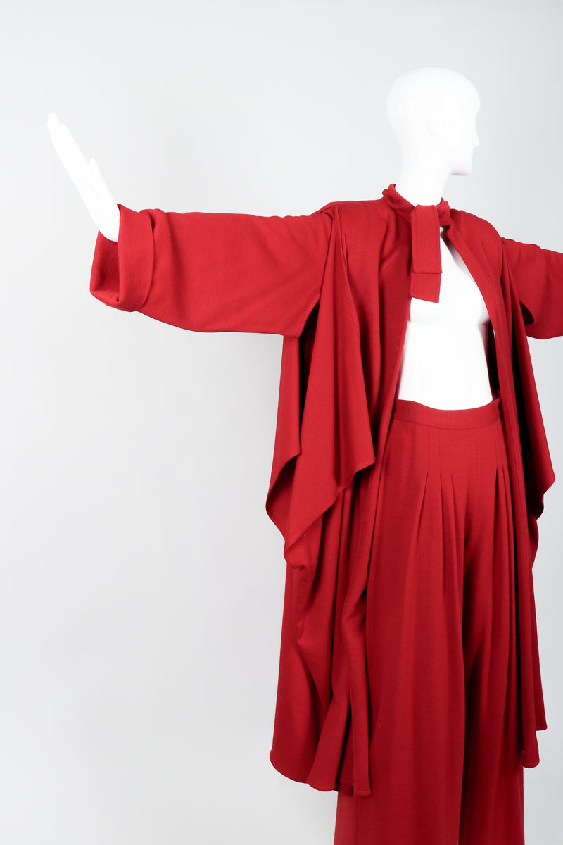 Vintage Sonia Rykiel Red Knit Cape Coat & Pant Set on mannequin arms out at Recess